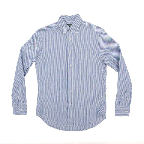 Gitman Vintage Linen Stripe Buttondown - Blue/White - The Class Room