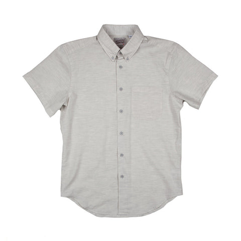 Naked & Famous Short Sleeve Shirt - Organic Yarn Dye Pale Grey - The Class Room boutique