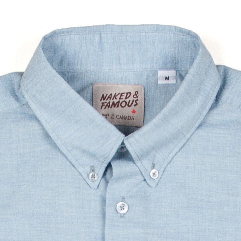 Naked & Famous Short Sleeve Shirt - Organic Yarn Dye Blue - The Class Room boutique
