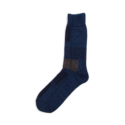 Anonymous Ism Indigo Patchwork Crew Sock - Dark Indigo - The Class Room boutique