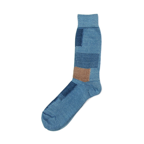Anonymous Ism Indigo Patchwork Crew Sock - Sky Blue - The Class Room boutique