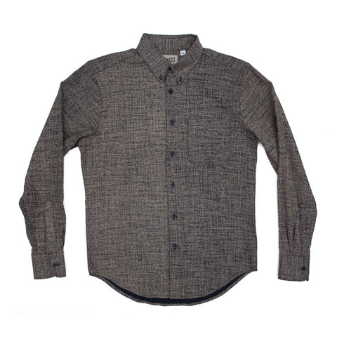 Naked & Famous Regular Shirt - Kimono Print Scramble, Beige / Navy - The Class Room boutique