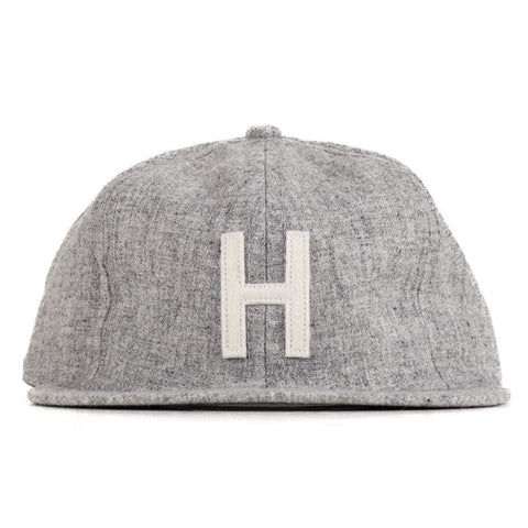 Ebbets Field Flannels TCR Houston Strapback Cap - Heather Grey Wool w/ White H - The Class Room - 1