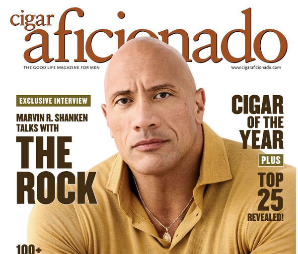 The Rock Wears Mark Chris in Cigar Aficionado