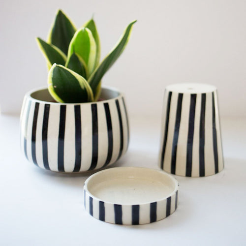 Black Striped Kaya 3-piece planter by Justina Blakeney® exclusively for Jungalow®