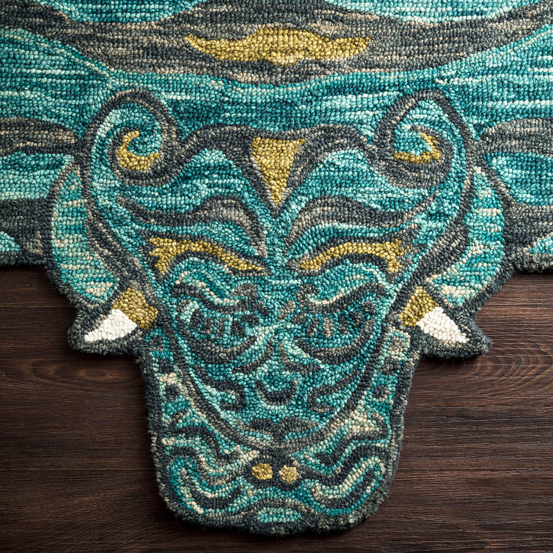 Feroz Teal Tiger Rug by Justina Blakeney® X Loloi