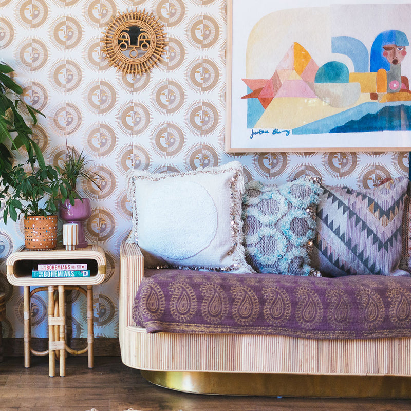 Ayo Wallpaper in Gold by Justina Blakeney® featured in a bohemian living room