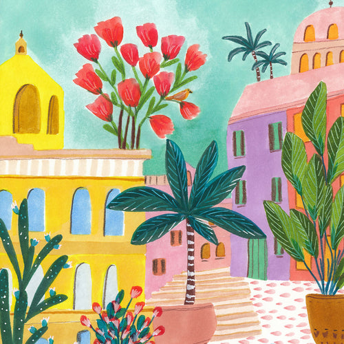 Andalusian Square City Art Print by Roeqiya Fris
