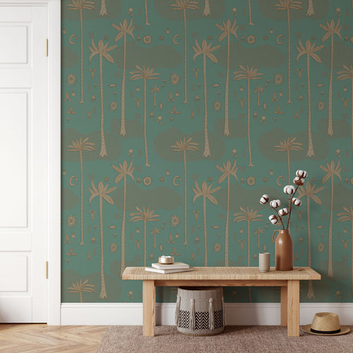 Cosmic Desert Wallpaper in Green by Justina Blakeney® - Paste The Sheet
