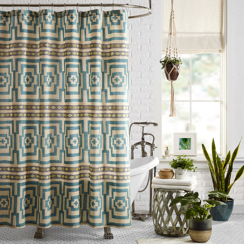 Blue Hypnotic Shower Curtain