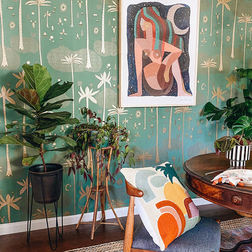 Cosmic Desert Wallpaper in Green by Justina Blakeney® - Sure Strip