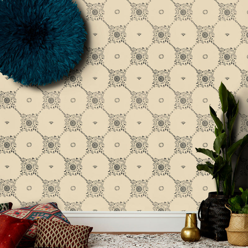 Fez Wallpaper in Cappuccino by Justina Blakeney®
