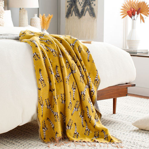 Golden Giraffe Throw Blanket