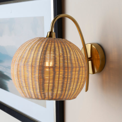 Rattan + Gold Sconce 3