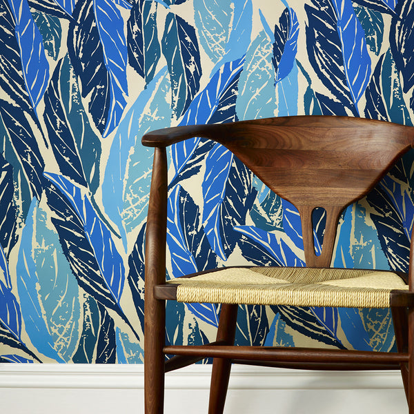 Nana Removable Wallpaper Tiles in Blue by Justina Blakeney® - Jungalow