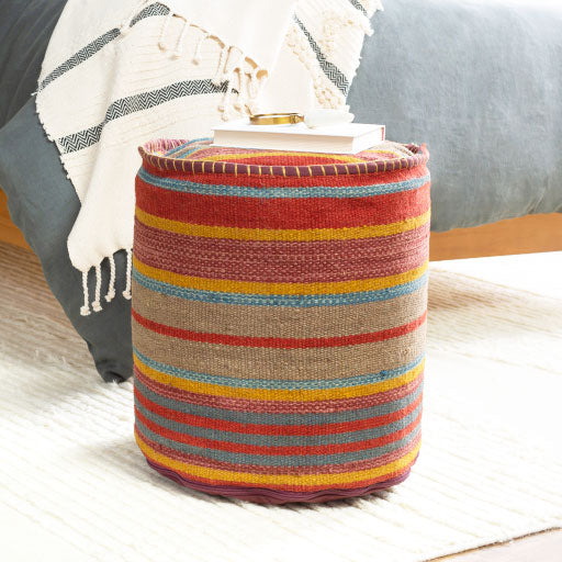 Striped Jute Pouf