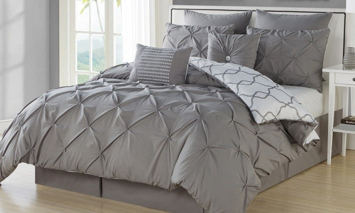 8-Piece: Reversible Pintucked Comforter Set