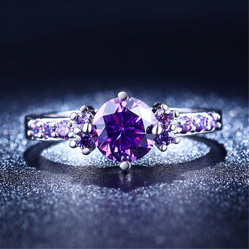 Purple Amethyst Silver Ring