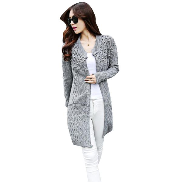 Womens Knitted Beads Long Sleeve Cardigan