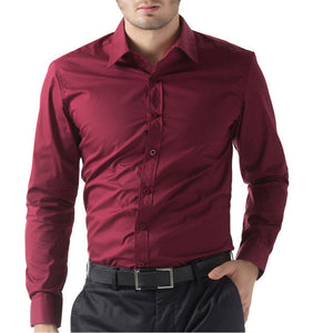 Mens Woven Slim Fit Dress Shirt - Multiple Colors