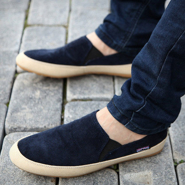 Mens Breathable Canvas Loafers