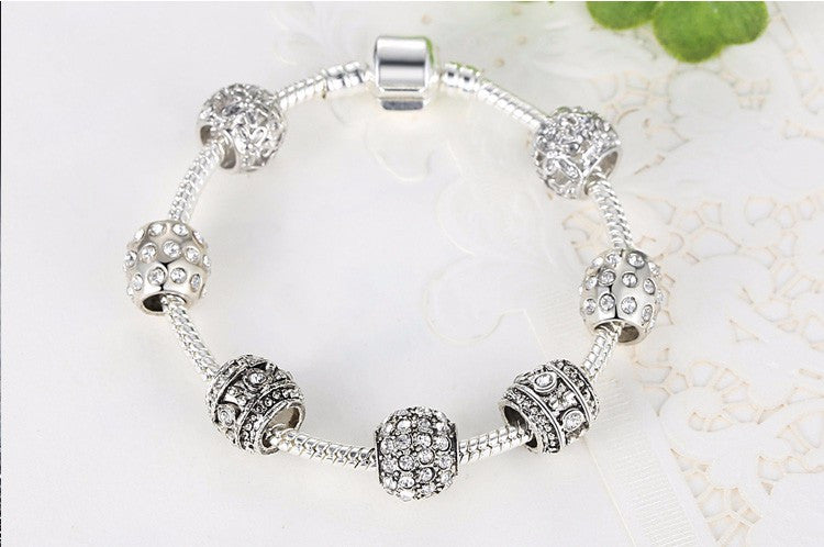 Silver Tone Bracelet for Women With High Quality Glass Beads - Flash Steals