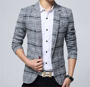 Plaid Cotton Blazer - Multiple Colors