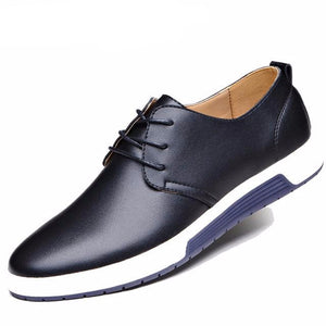 Mens Casual Leather Breathable Shoes