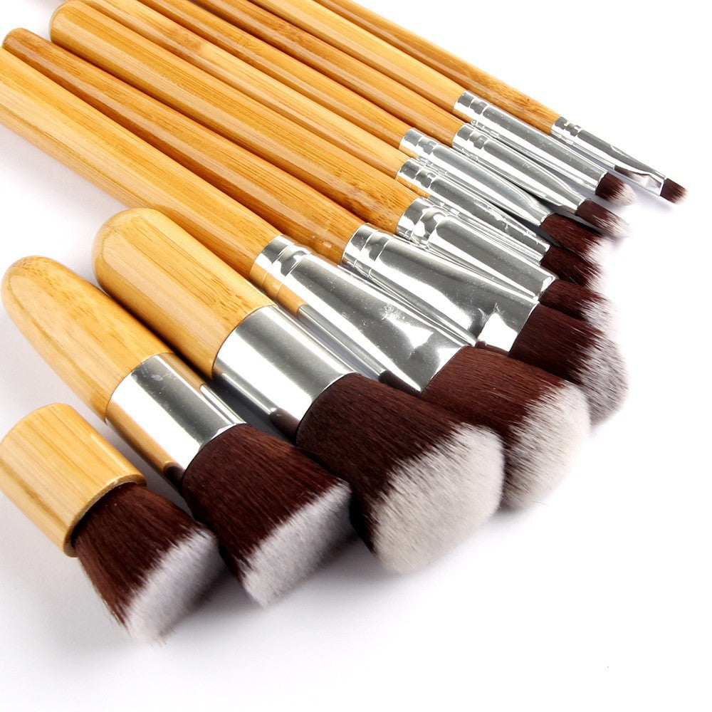 Bamboo Makeup Brush Set with Storage Pouch (10-Piece) - Flash Steals