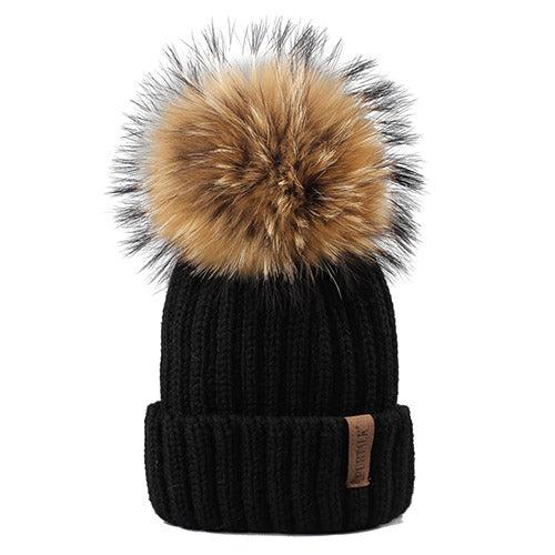 FURTALK Winter Knit Hat Real Raccoon Fur Pom Pom Womens Girls Knit Beanie Hat