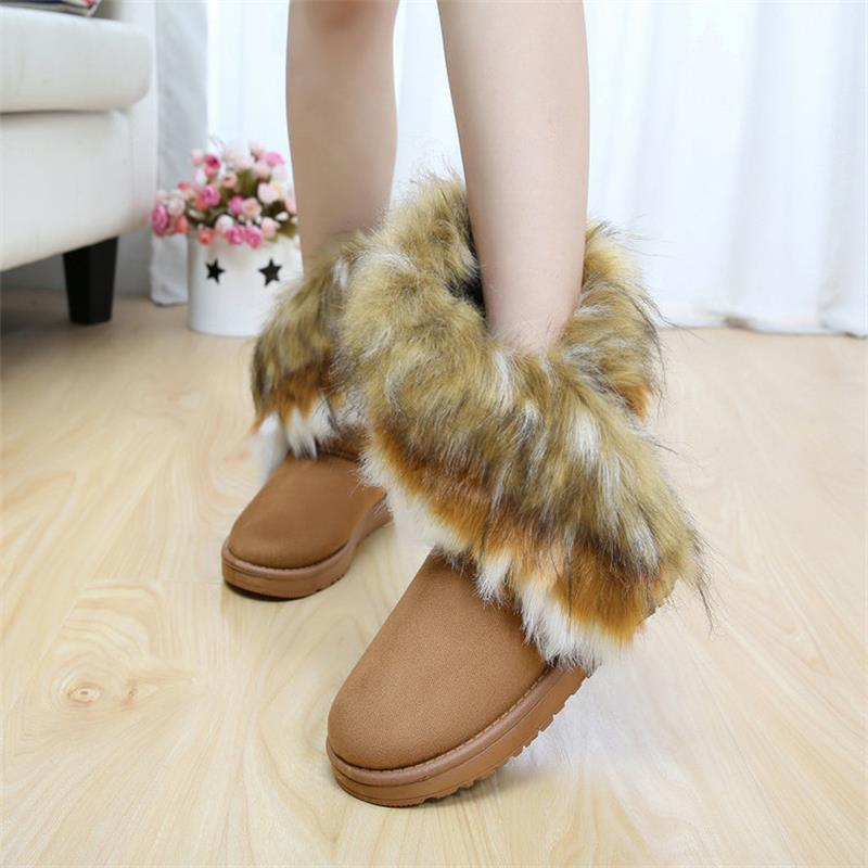 Womens Fox Fur Wedge Boots - 3 Colors