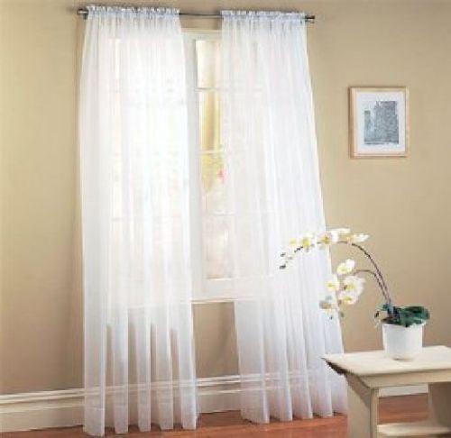Elegant Solid Sheer Curtain Panels - Flash Steals