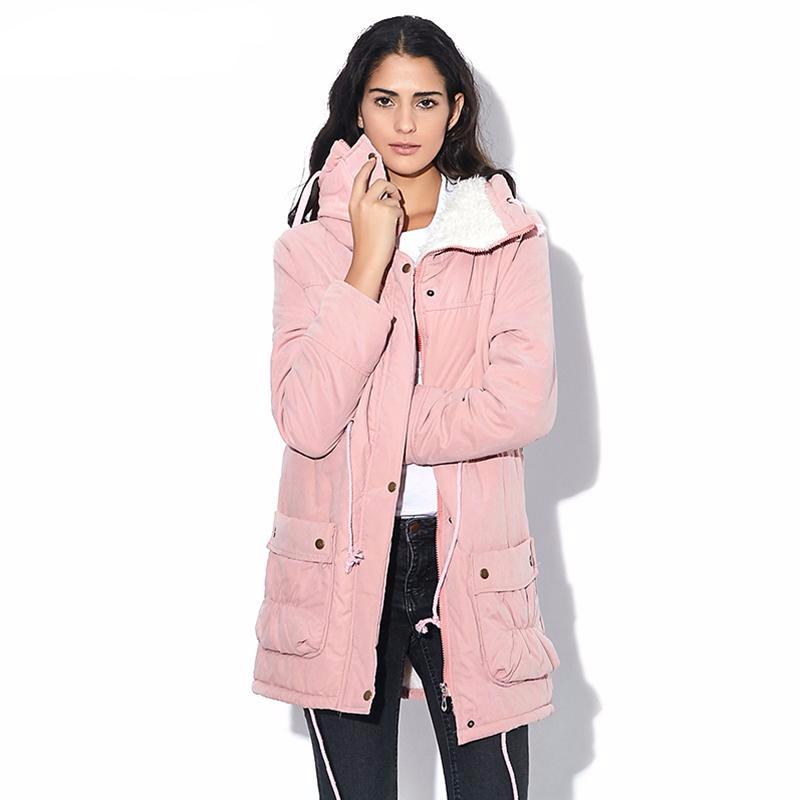 Women's Cotton Fur Hooded Jacket - Multiple Colors