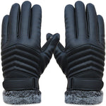 Leather Faux Fur Touchscreen Gloves