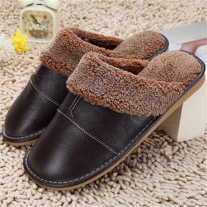 Leather Sherpa Unisex Slippers - Flash Steals