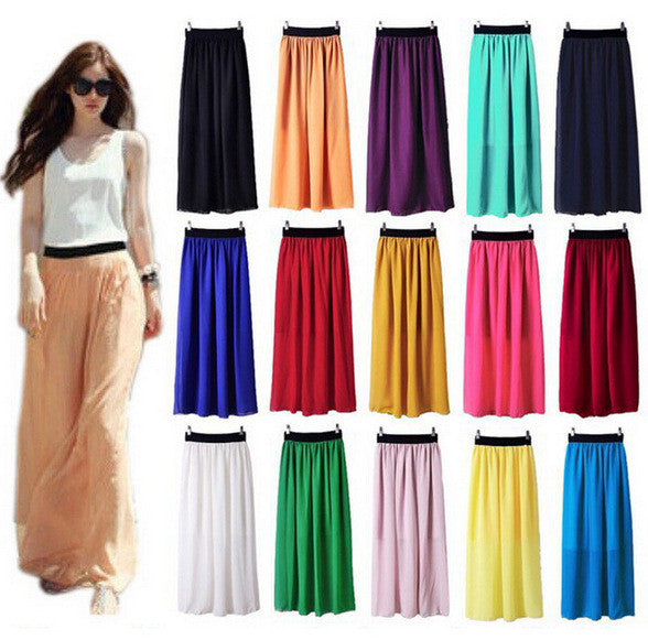 Womens Chiffon Max Skirt - Multiple Colors