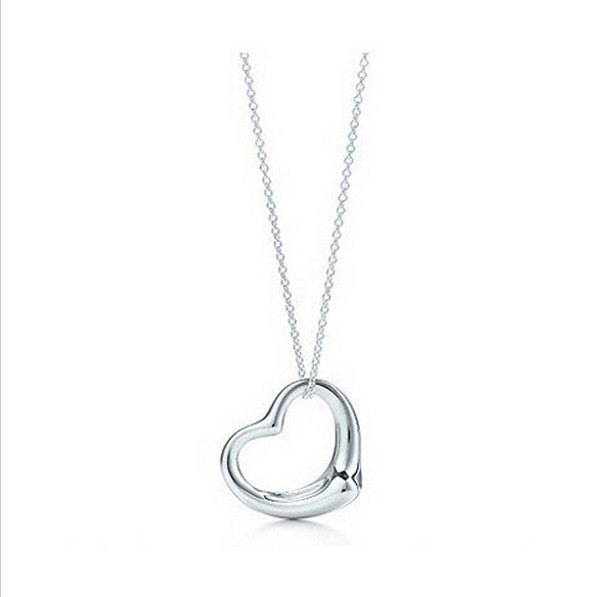"White Gold Plated Heart Pendant With 18"" Necklace"