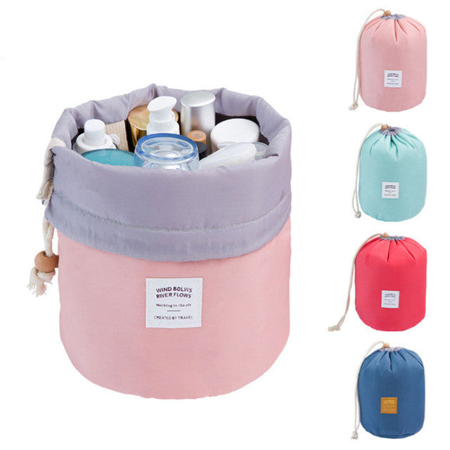 Barrel Shaped Travel Drawstring Elegant Cosmetic Bag