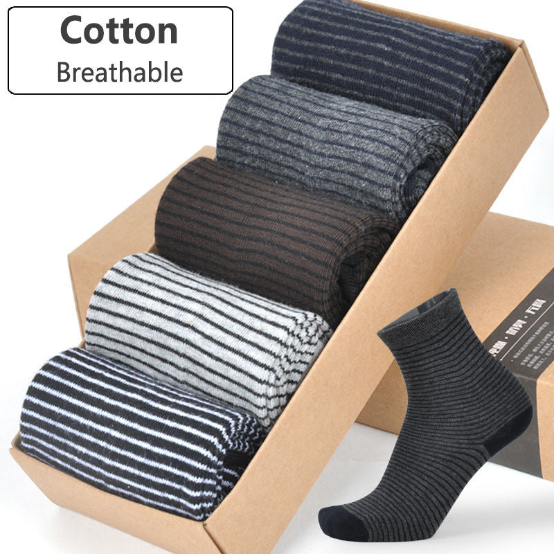 5-Pair: Men's Thermal Striped Dress Socks - Flash Steals