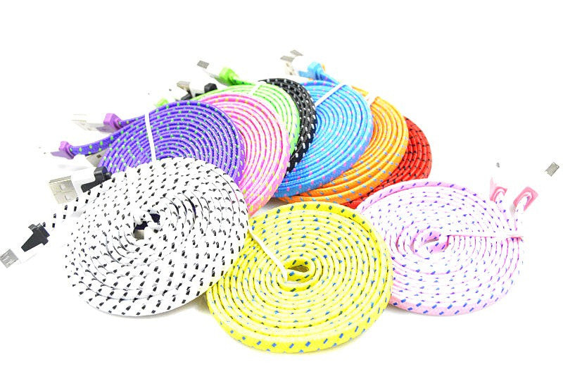 [3-Pack] Braided Colorful USB Charging Cord for iPhone 5/6/7