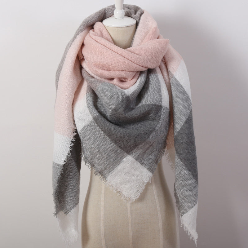 Fashion Designer Cashmere Triangle Pink Scarf - 20 Patterns