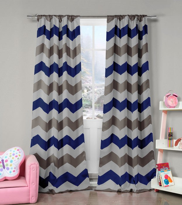 Set of 2: Lala + Bash Chevron Heavy Woven Blackout Curtain Panels