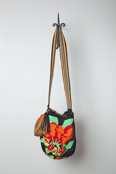 Black Orange Flower Fine Weave Bag