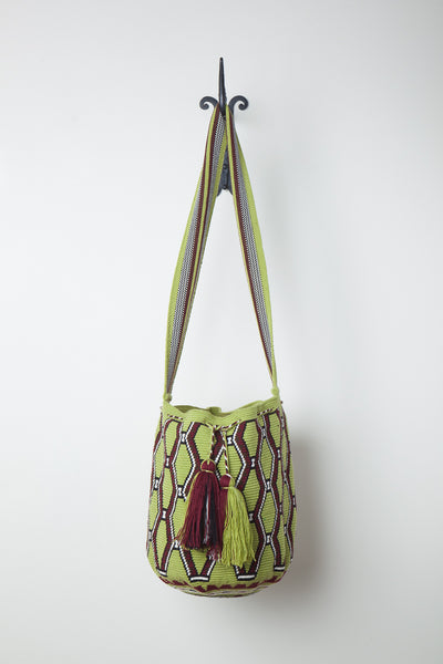 Green Geometric Patterned Fine Weave Bag