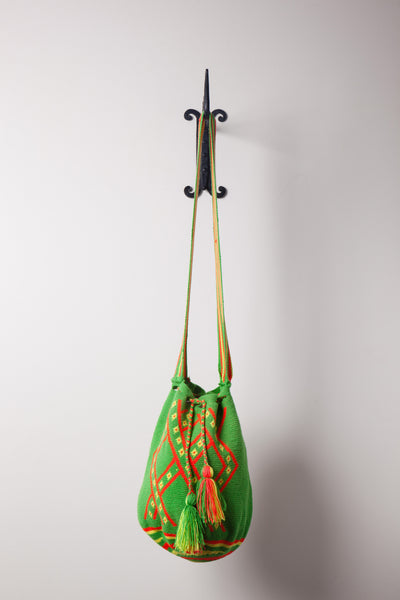 Bright Green, Patterned Bag