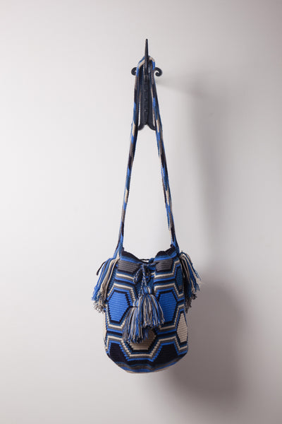 Blue Hexagon, Patterned, Neutral Bag