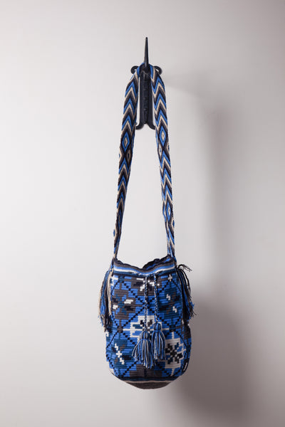 Blue and White Flower, Patterned Bag