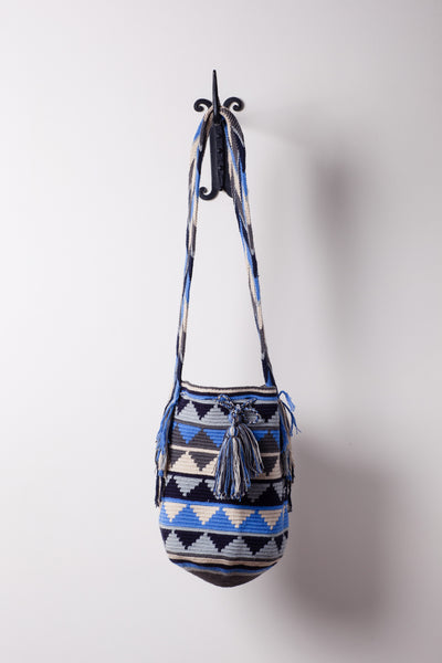 Blue White and Grey Alligator Teeth Patterned Bag