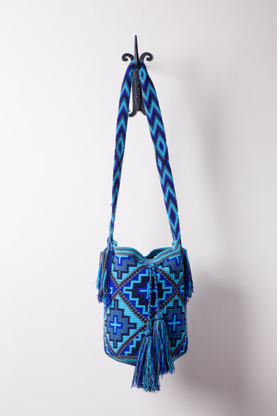 Aqua Blue and Navy Geometric Patterned Bag