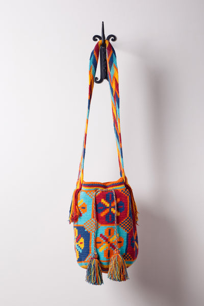 Blue Flowered, Patterned, Bag